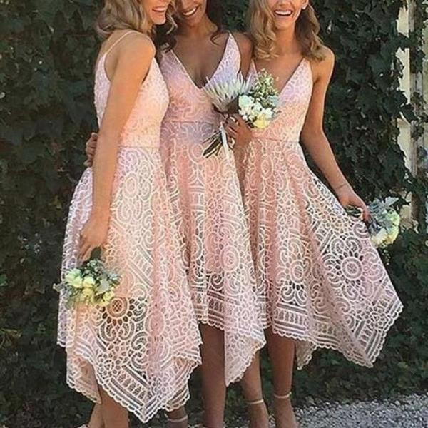 A-Line Party Dresses, Pink Bridesmaid Dress, Party Dresses Lace BOHO42974