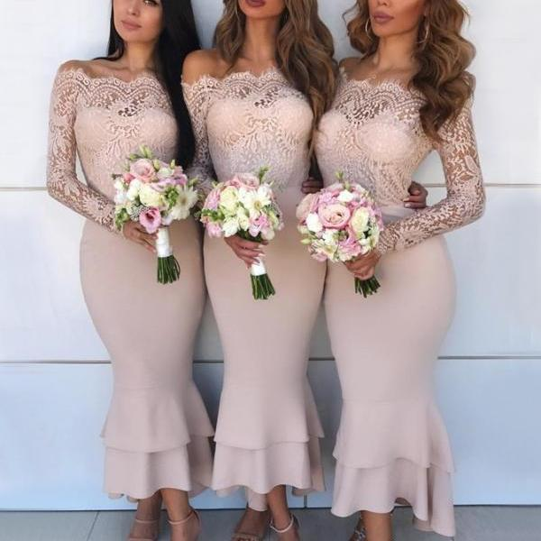 Party Dress With Sleeves, Blush Bridesmaid Dress, Bridesmaid Dress Mermaid, Party Dress Lace BOHO42976