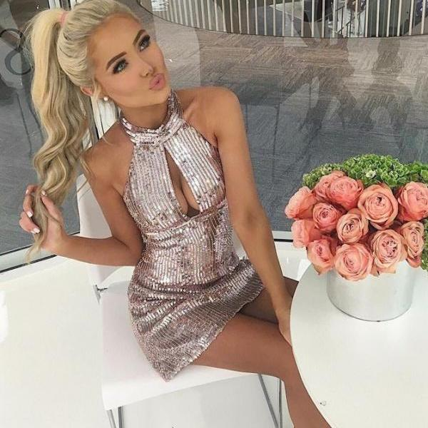 Pink Party Dresses, Party Dresses Backless BOHO4291208