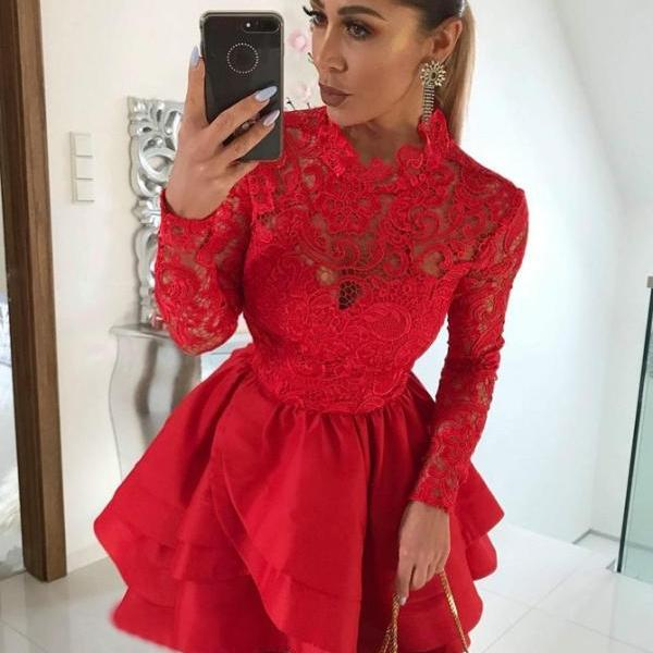 Party Dresses With Sleeves, Homecoming Dress Lace, Red Party Dresses, Lace Red Homecoming Dress BOHO4291209