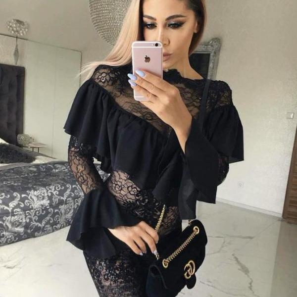 Lace Black Homecoming Dresses, Homecoming Dresses Black, Homecoming Dresses With Sleeves, Party Dresses Lace BOHO4291211