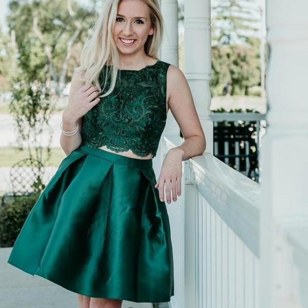 Party Dresses Two Piece, Homecoming Dresses Green BOHO4291242