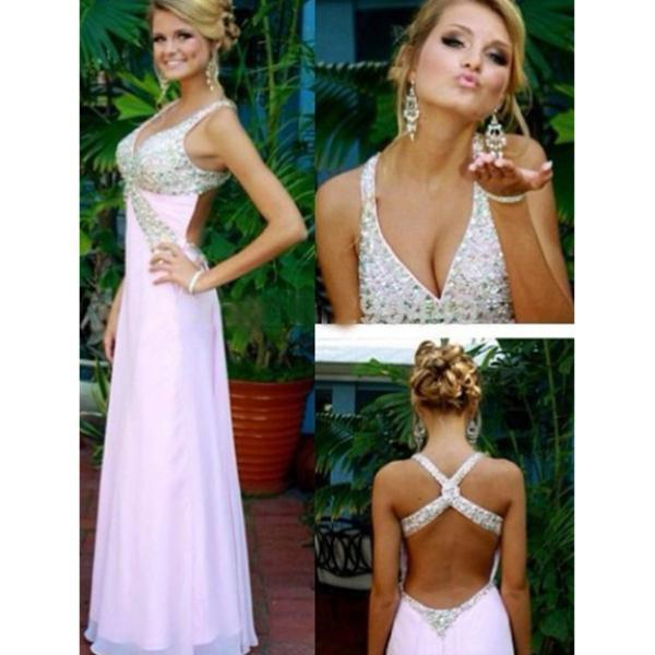 Deep V-neck Prom Dress,Sexy Floor Length Prom Dress,Pink Evening Dress,Criss-Cross Straps Prom Dress with Beading