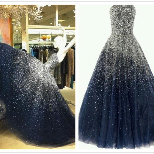 Luxurious Ball Gown Prom Dress,Strapless Party Dress,Floor Length Prom Dress,Navy Blue Evening Dress with Beading,Beading Prom Gown