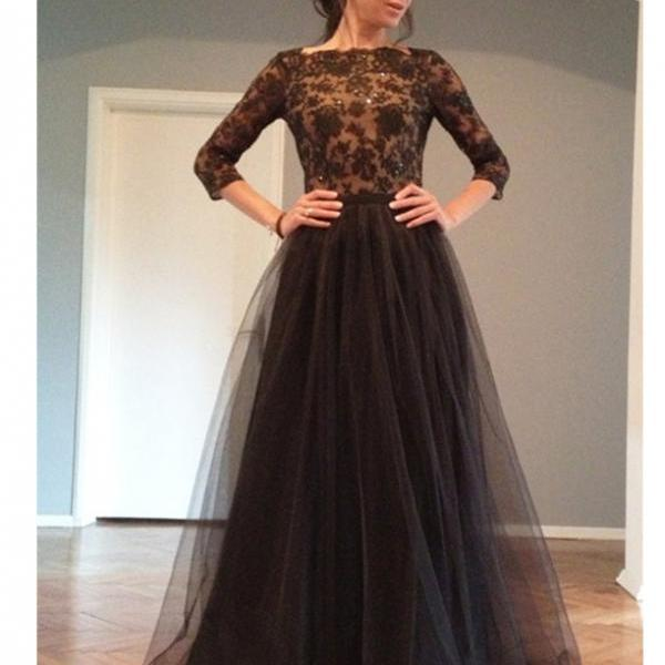 Elegant Prom Gowns,A-Line Bateau Neck Prom Gown,Floor Length Black Evening Dress,Prom Dress with Lace,Half Sleeves Prom Gown,Backless Prom Dress